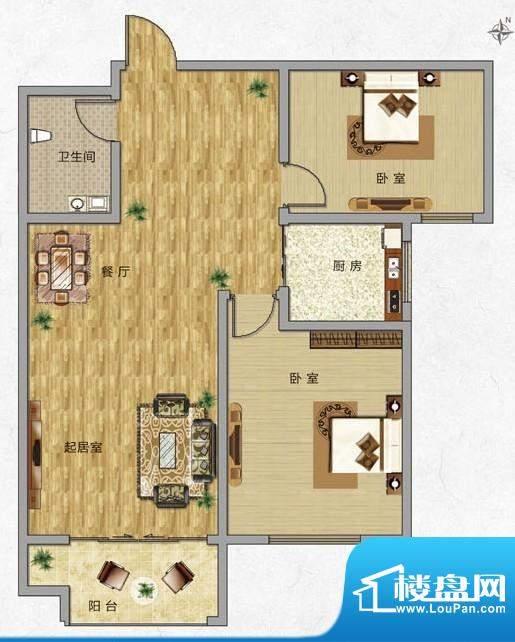 海普·凤凰城户型图j2 2室2厅1面积:88.00平米