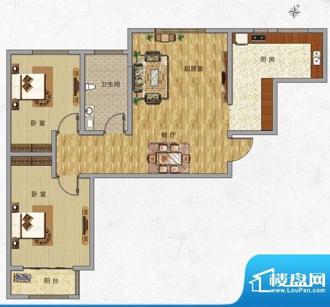 海普·凤凰城户型图j3 2室2厅1面积:88.00平米