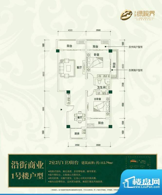大安·绿视界户型图s1 2室2厅1面积:112.79平米