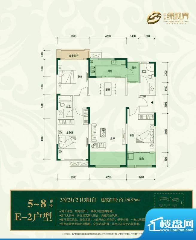 大安·绿视界户型图e2 3室2厅面积:128.57平米
