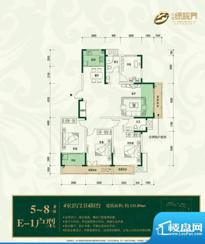 大安·绿视界户型图e1 4室2厅面积:131.89平米