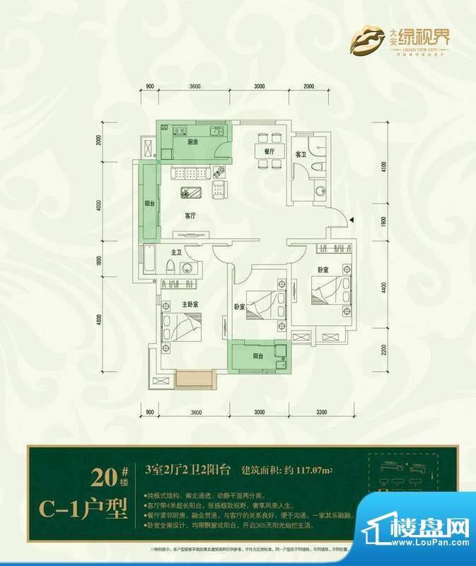 大安·绿视界户型图c1 3室2厅面积:117.07平米