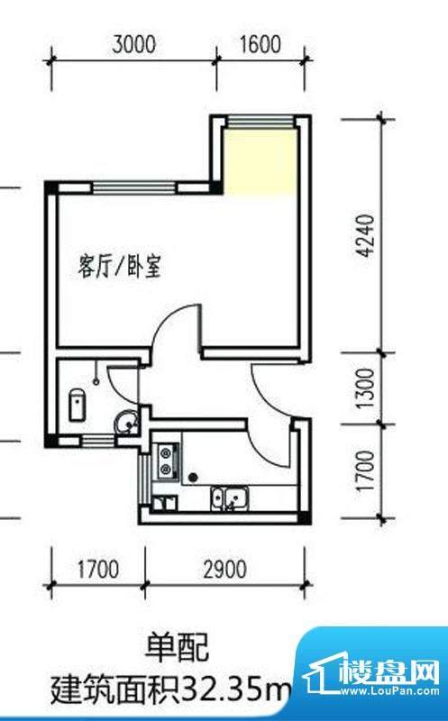 伴山丽景一期1-8#楼面积:32.35m平米