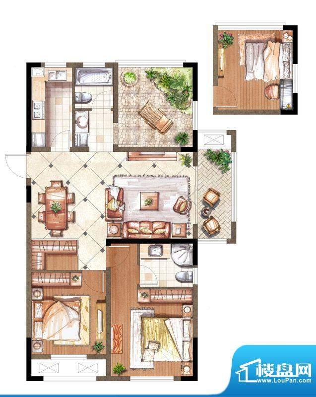 伟业迎春乐家户型图19#楼M1户型面积:108.00平米
