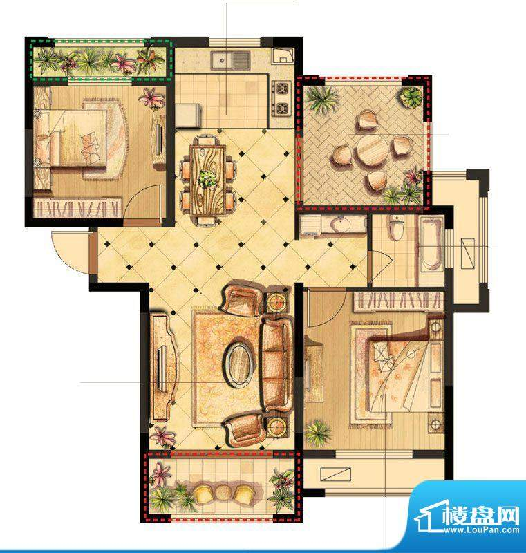 伟业迎春世家户型图19#、20#楼面积:95.00平米