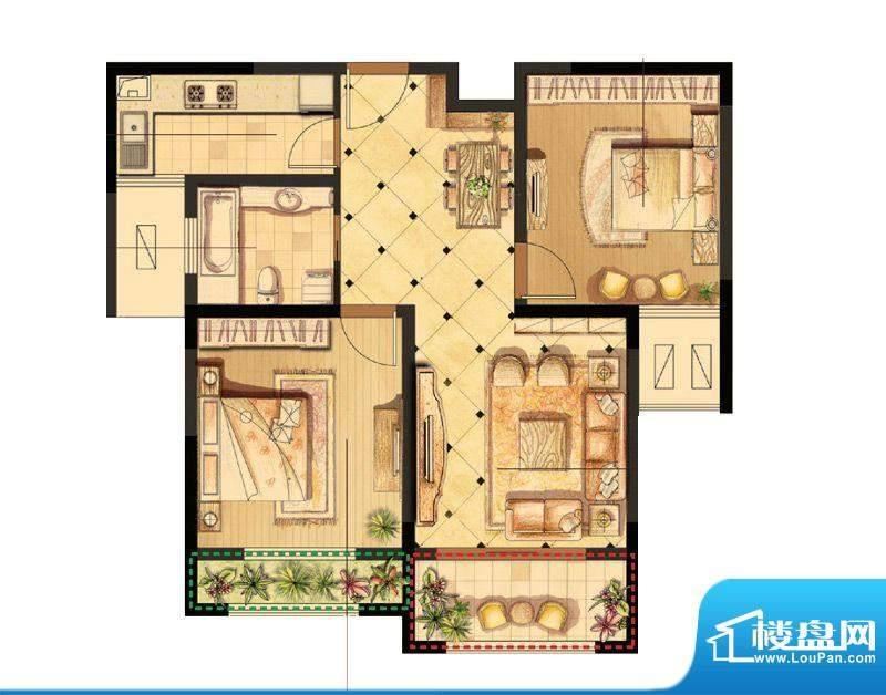 伟业迎春世家户型图19#、20#楼面积:88.00平米
