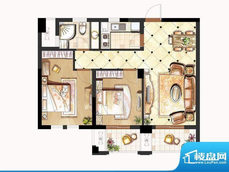 伟业迎春世家户型图19#楼C2户型面积:89.00平米