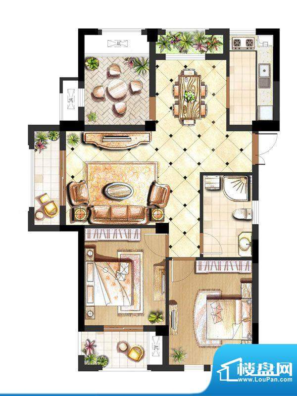 伟业迎春世家户型图19#楼C1户型面积:107.00平米