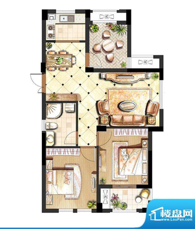 伟业迎春世家户型图1.3.6.10#标面积:88.00平米