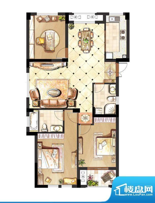 伟业迎春世家户型图1.3.6.10#标面积:133.00平米