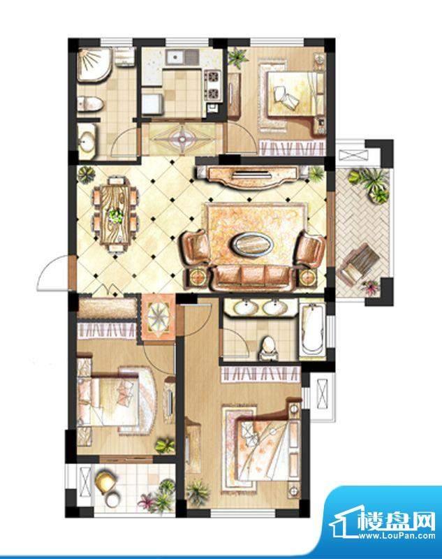 伟业迎春世家户型图2.7#标准层面积:107.00平米