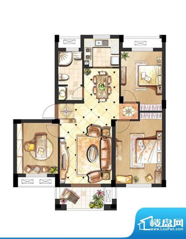 伟业迎春世家户型图4#标准层02面积:82.00平米