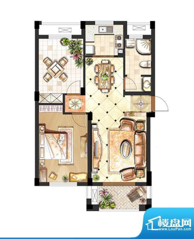 伟业迎春世家户型图4#标准层04面积:95.00平米