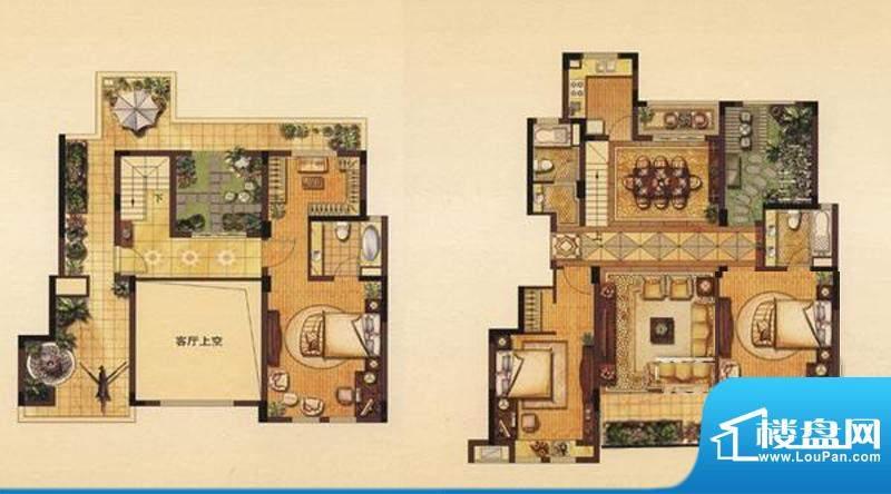 丽湾域户型图一期7号楼标准层F面积:187.00平米
