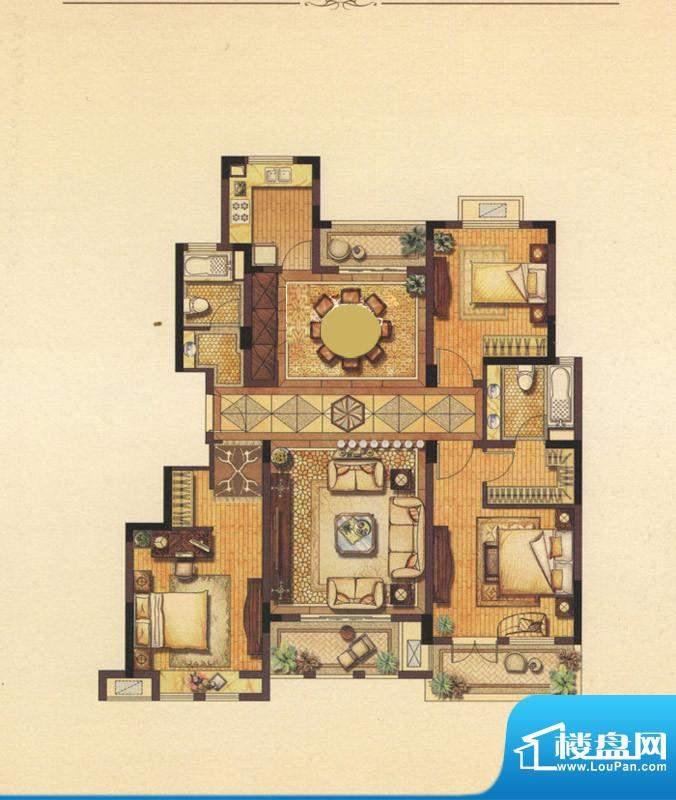 丽湾域户型图一期7号楼标准层B面积:138.00平米
