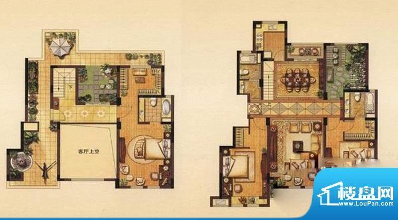 丽湾域户型图花园洋房F户型 3室面积:187.00平米