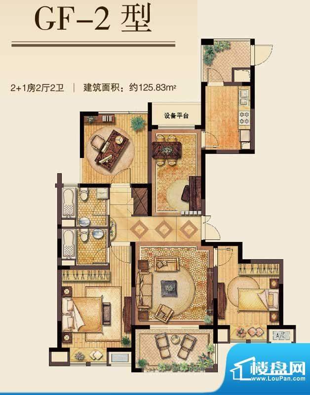 丽湾域户型图3#、4#楼中间户GF面积:125.83平米