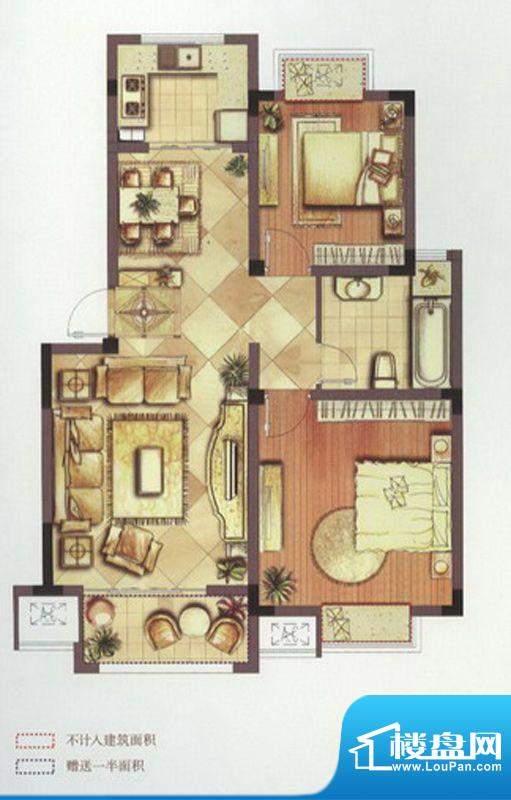 望景华庭户型图B2户型 2室2厅1面积:87.00平米