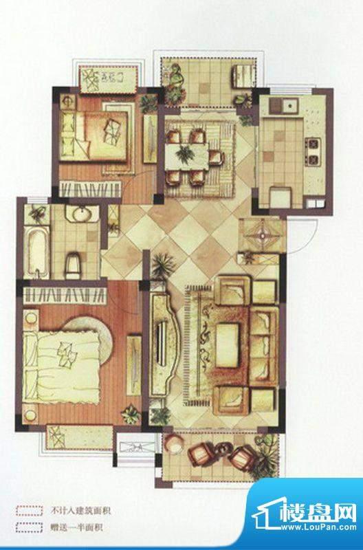 望景华庭户型图A1户型 2室2厅1面积:89.00平米