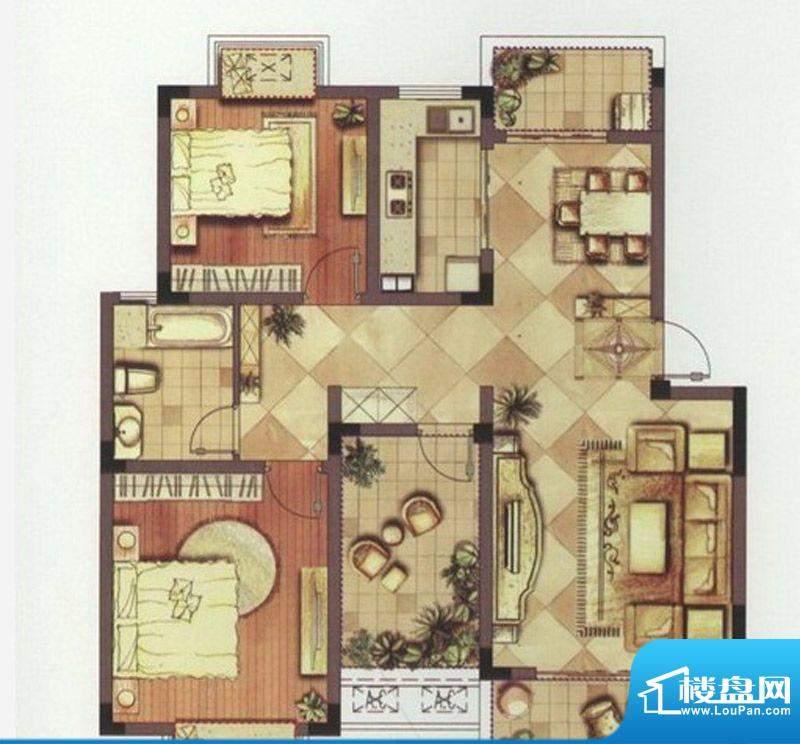 望景华庭户型图B3户型 3室2厅1面积:97.00平米