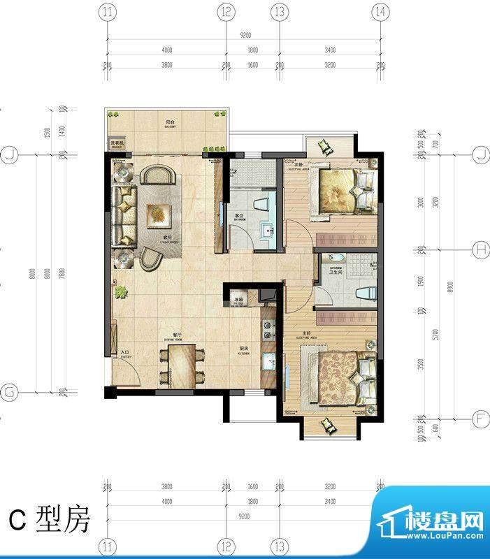 香悦水岸户型图C型房户型图 2室面积:90.00平米