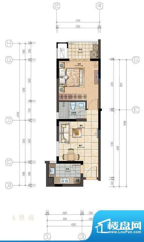 香悦水岸户型图A型房户型图 1室面积:55.00平米