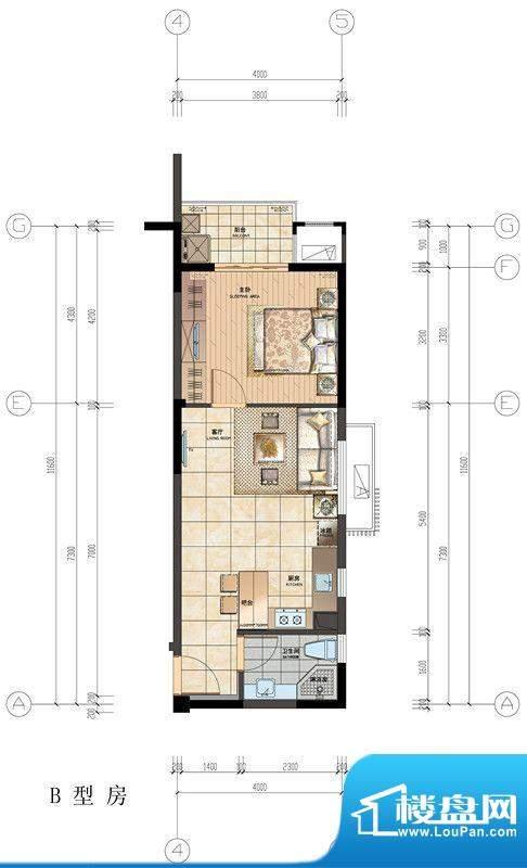 香悦水岸户型图B型房户型图 1室面积:55.00平米