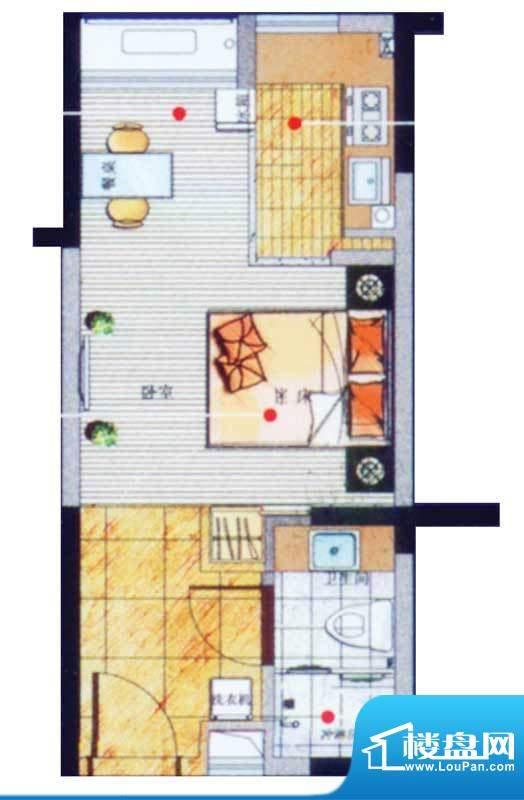 香悦水岸户型图B户型 1室1厅1卫面积:35.98平米