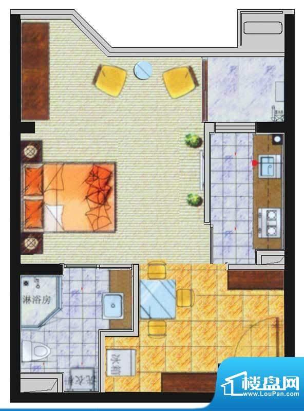 香悦水岸户型图C户型 1室1厅1卫面积:54.85平米