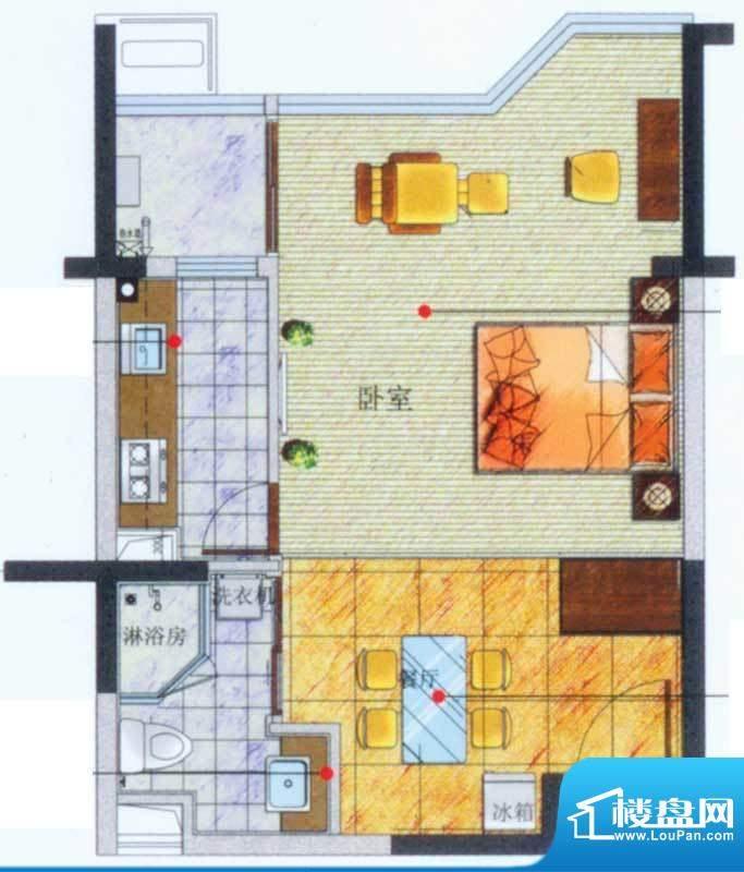 香悦水岸户型图D户型 1室1厅1卫面积:60.65平米
