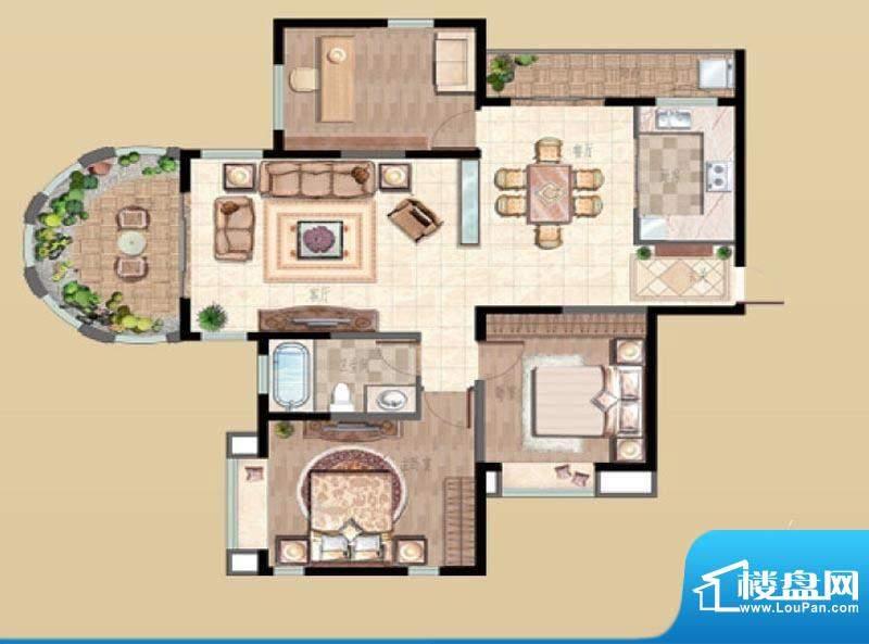 新湖明珠城户型图2#A户型 3室2面积:140.00平米