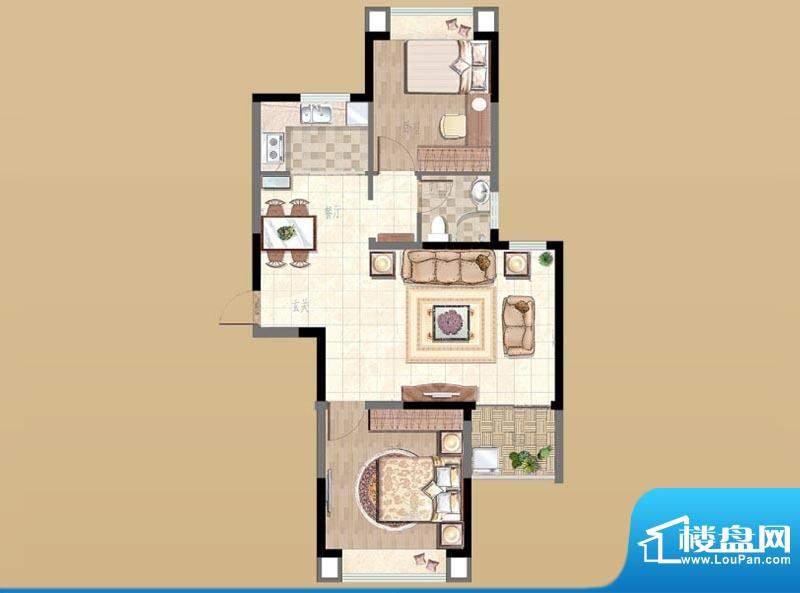 新湖明珠城户型图2#B户型 2室2面积:89.00平米