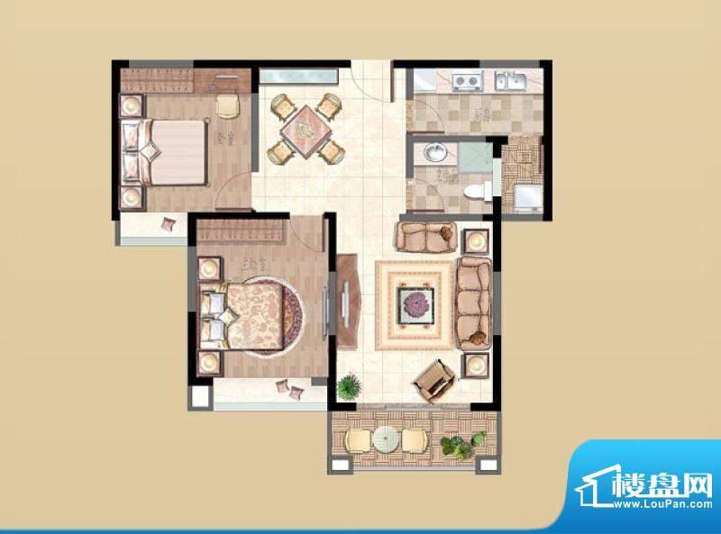 新湖明珠城户型图5#F户型 2室2面积:93.00平米
