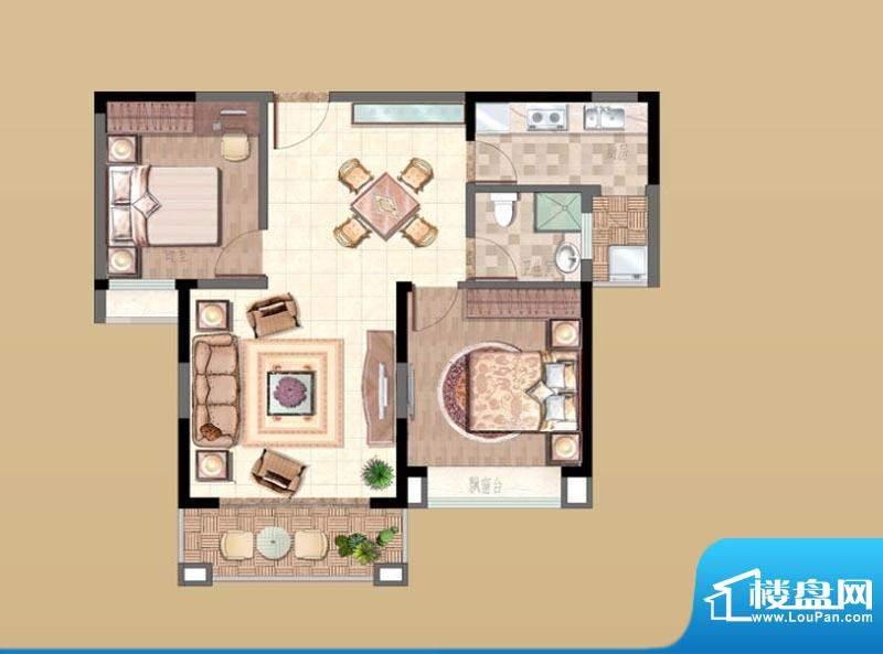 新湖明珠城户型图6#F户型 2室2面积:88.00平米