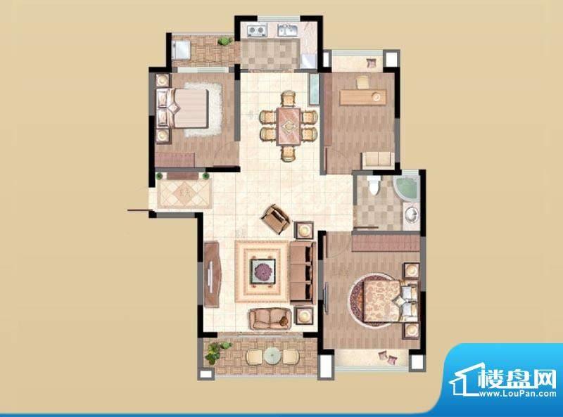 新湖明珠城户型图6#H2户型 3室面积:122.00平米