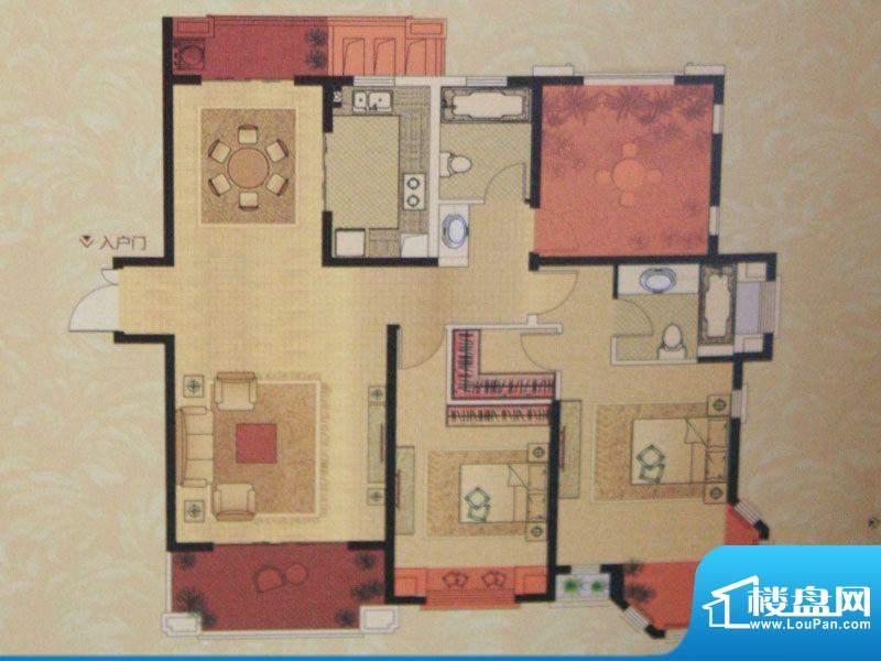 中南世纪城户型图F户型 3室2厅面积:140.00平米