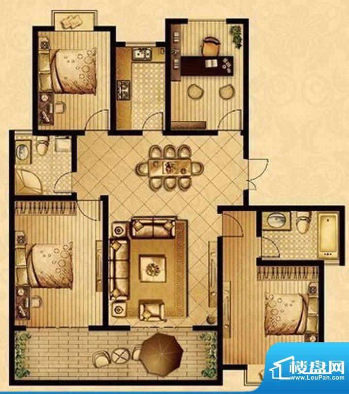 星宝花园户型图一期35、36号楼面积:152.30平米