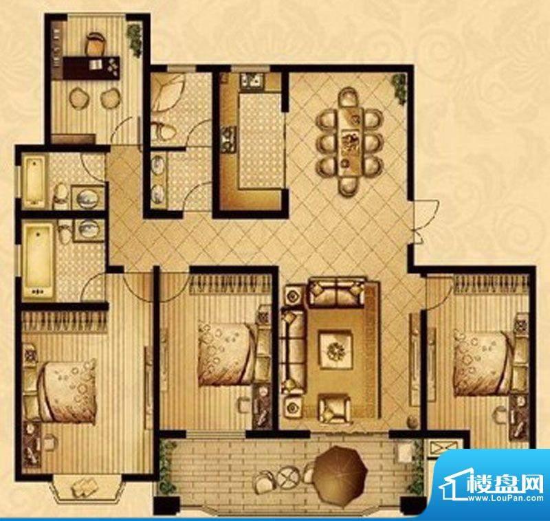 星宝花园户型图F户型 4室2厅3卫面积:175.80平米