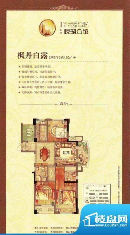 阳光悦湖公馆户型图120平米户型面积:120.00平米