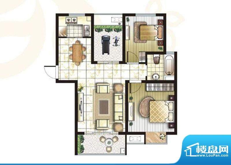 锦盛苑户型图2#楼h60户型 3室2面积:87.42平米