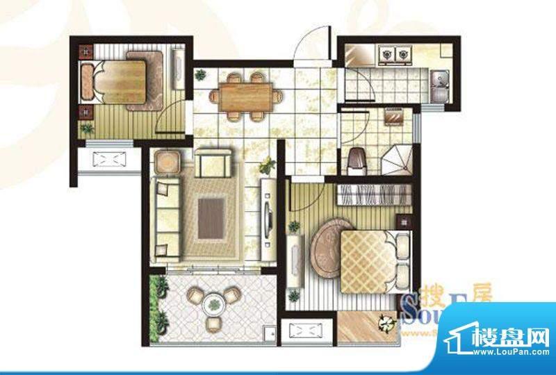 锦盛苑户型图3#楼h50户型 2室2面积:67.02平米