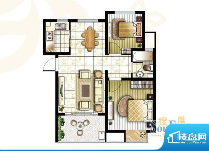 锦盛苑户型图3#楼h40户型 2室2面积:77.69平米