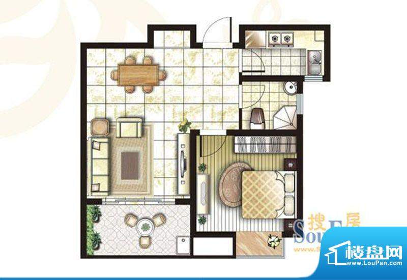 锦盛苑户型图3#楼h30户型 1室2面积:63.26平米