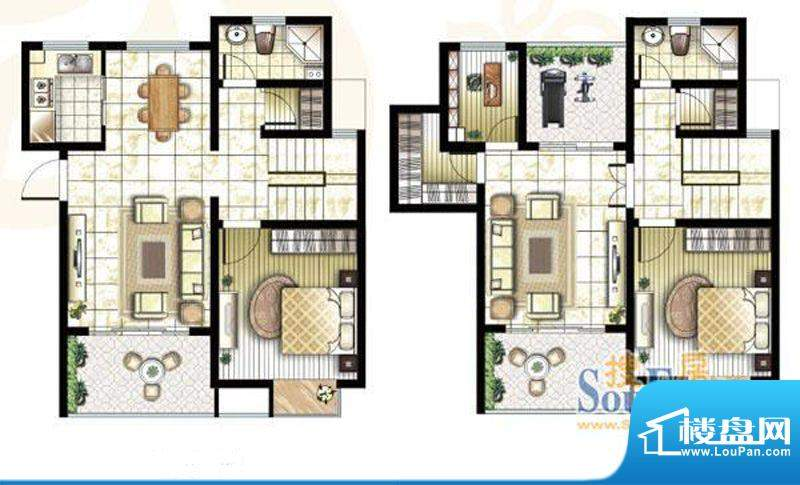 锦盛苑户型图1#复式h20户型 3室面积:150.83平米