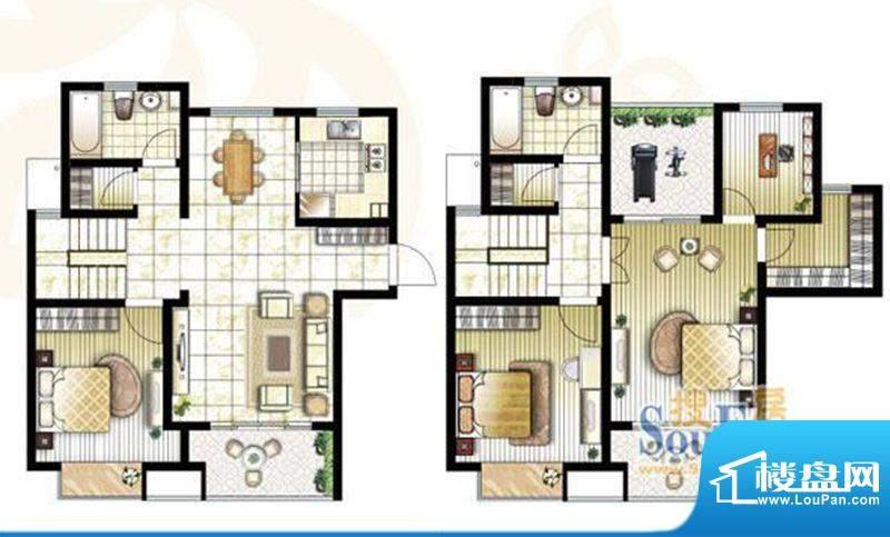 锦盛苑户型图1#复式h10户型 4室面积:166.33平米