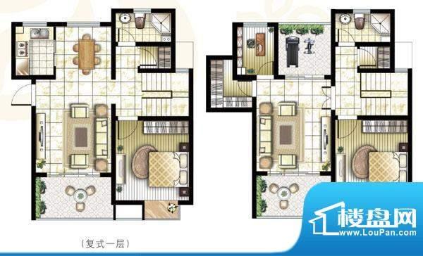 锦盛苑户型图1#复式h20户型3室面积:150.83平米