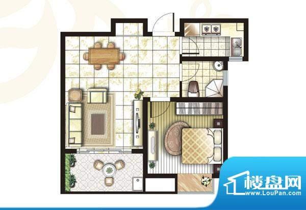 锦盛苑户型图3#楼h30户型1室2厅面积:63.26平米