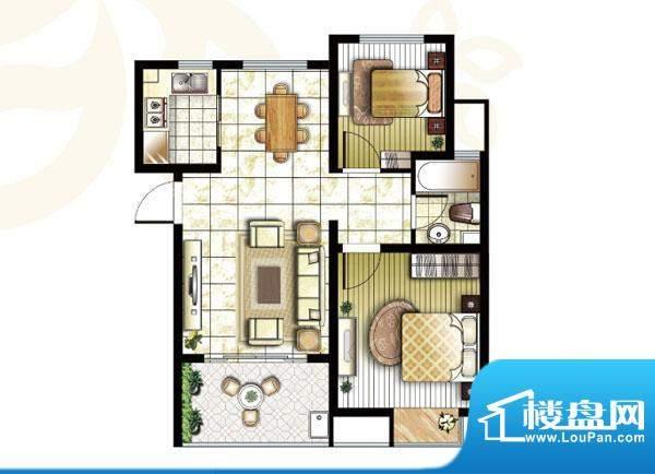 锦盛苑户型图3#楼h40户型2室2厅面积:77.69平米