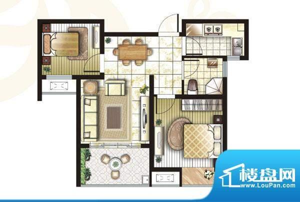 锦盛苑户型图3#楼h50户型2室2厅面积:67.02平米