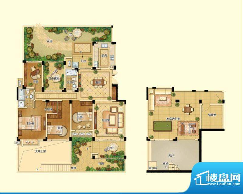 新港天城户型图一期21#一层复式面积:235.33平米